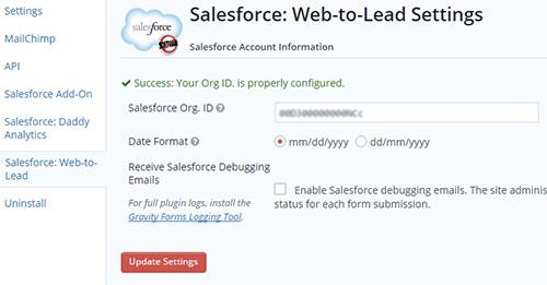 web to lead form salesforce organization id