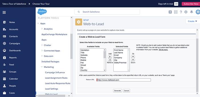 setup form web to lead